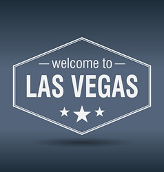 Welcome to Las Vegas hexagonal white vintage label vector
