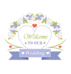 Welcome to our wedding festive invitation poster vector