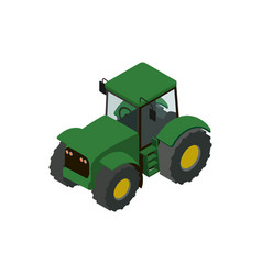 Wheeled green tractor isometric 3d element vector