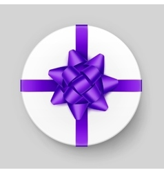 White gift box with purple violet bow and ribbon vector