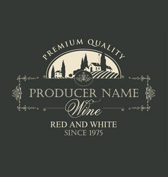 wine label with landscape of european village vector image
