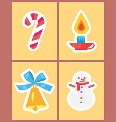 Wintertime holidays icons vector