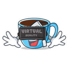 With virtual reality tea cup mascot cartoon vector