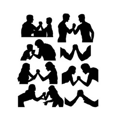 Wrestling silhouettes vector