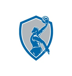 Basketball Player Dunk Ball Shield Retro vector image