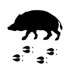 Black silhouette boar wild animal zoo vector