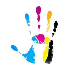 CMYK handprint vector image vector image