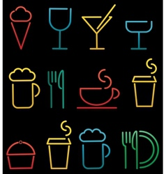 colorful beverage and food set vector image