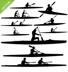 Kayaking silhouettes vector image vector image