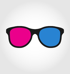 3d glasses red and blue on white background vector image