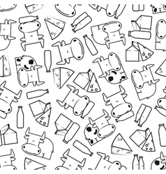 Cute cows with milk and cheese seamless pattern vector image vector image