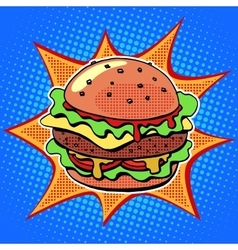 Fast food Burger with sesame meat salad and cheese vector image vector image