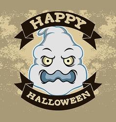 Ghost Head Halloween Badge vector image vector image