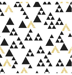 Gold geometric triangle seamless pattern On white vector image vector image