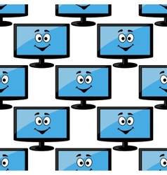 Seamless pattern of a happy desktop monitor vector image vector image