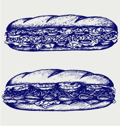 Submarine sandwich vector image vector image