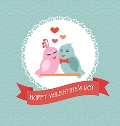 Card for Valentines Day Birds Heart Label Ribbon vector image