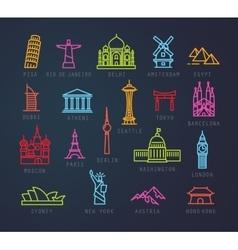 City flat neon icons vector image