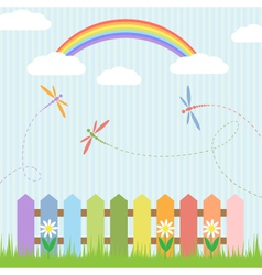 Colorful dragonflies and rainbow vector image vector image