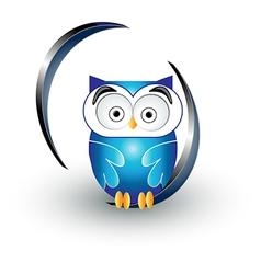 cute blue owl vector image