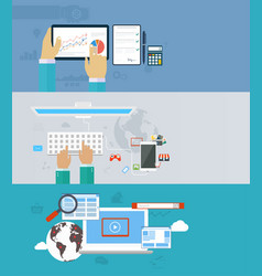 interaction hands using keyboard and mobile vector image vector image