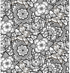 seamless black and white flower pattern vector image