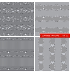 set patterns with branches and hearts vector image vector image