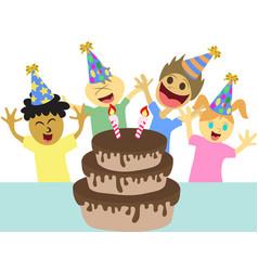 cartoon kids happy birthday party vector image