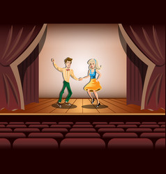 couple dancing on stage vector image vector image
