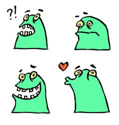 green monster emoticons setfunny cartoon cool vector image vector image