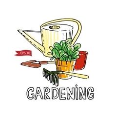 Hand drawn garden tools vector image