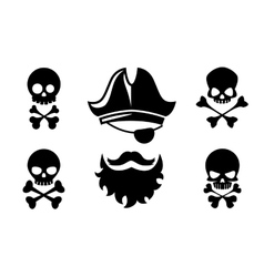 Pirate head icons with skull and crossed vector image