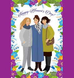8 march womens with colorful doodle flowers and vector image