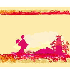 abstract Asian Landscape and beautiful Asian vector image
