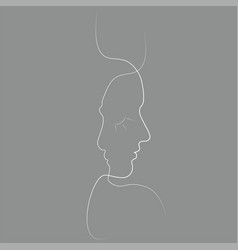 abstract persons one line vector image