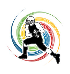 American football player running graphic vector