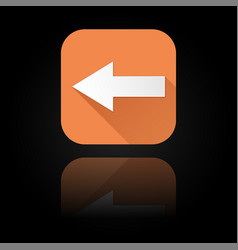 Arrow icon orange sign with reflection on black vector