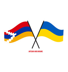 Artsakh and ukraine flags crossed and waving flat vector