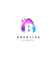 B letter dots logo design with oval shape vector