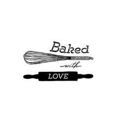 baked with love hand draw kitchen tools vector image