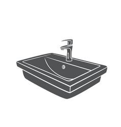Bathroom sink for house plumbing glyph icon vector