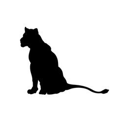 black silhouette sitting lion vector image