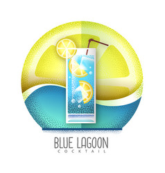 Blue lagoon cocktail icon grainy texture vector