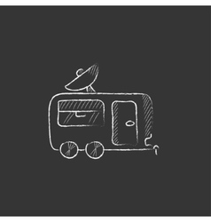 Caravan with satellite dish drawn in chalk icon vector