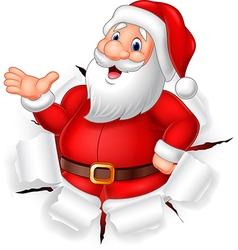 Cartoon funny Santa claus presenting vector image