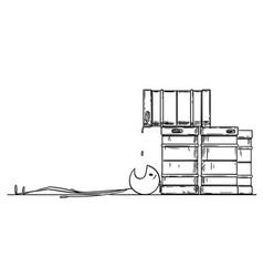 Cartoon of drunk man laying under metal beer vector