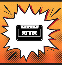 cassette icon audio tape sign comics vector image