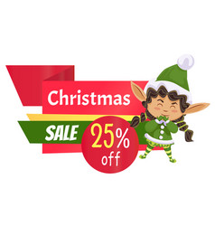 Christmas sale clearance in shop elf on advert vector