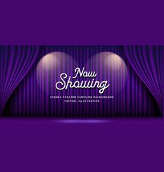Cinema theater curtains purple banner background vector