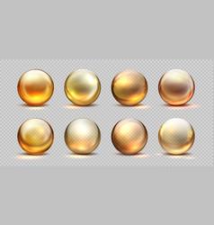 collagen golden balls realistic cosmetic oil vector image